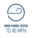 Wind Tunnel Tested to 45 MPH